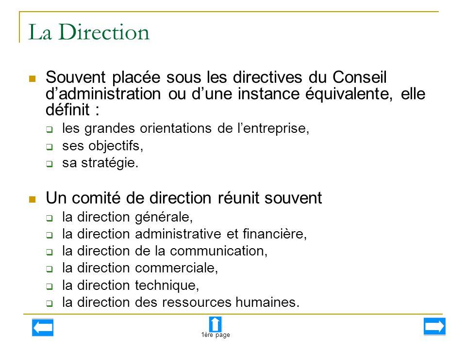 La Direction Souvent placée sous les directives du Conseil d'administration ou d'une instance équivalente, elle définit :  les grandes orientations d