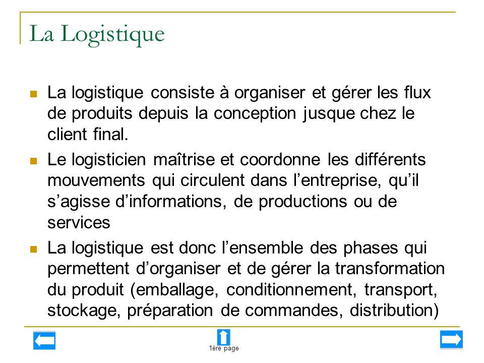 La Logistique La logistique consiste à organiser et gérer les flux de produits depuis la conception jusque chez le client final. Le logisticien maîtri