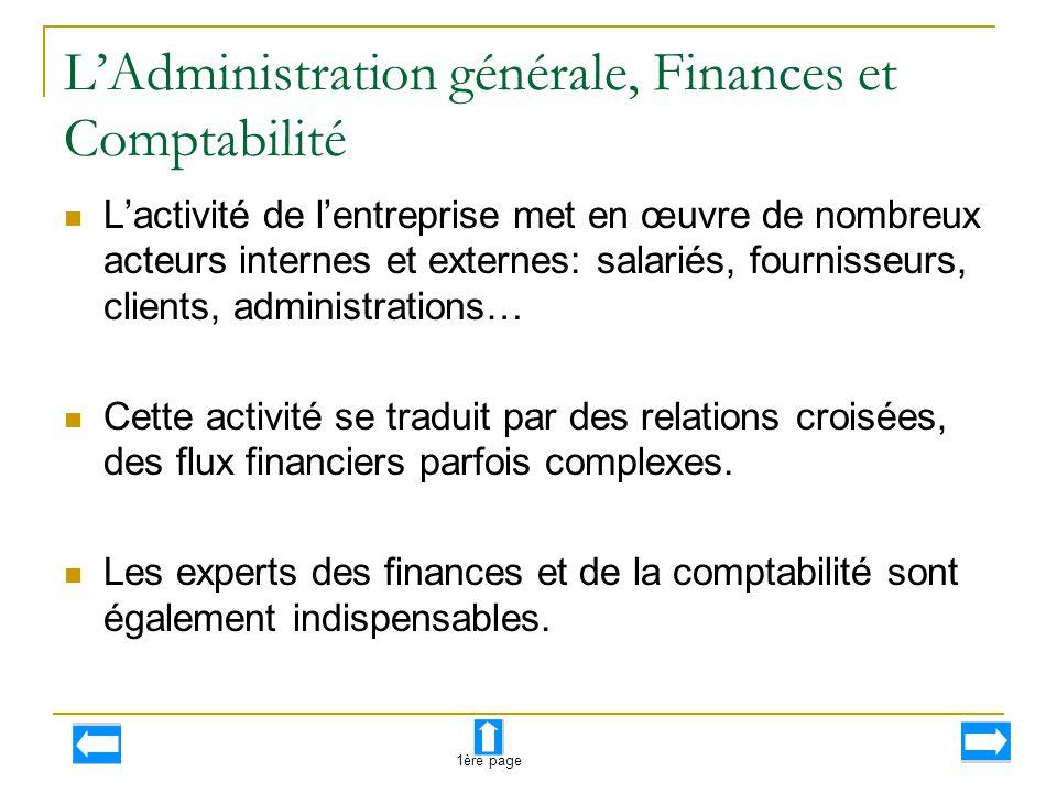 L'Administration générale, Finances et Comptabilité L'activité de l'entreprise met en œuvre de nombreux acteurs internes et externes: salariés, fourni
