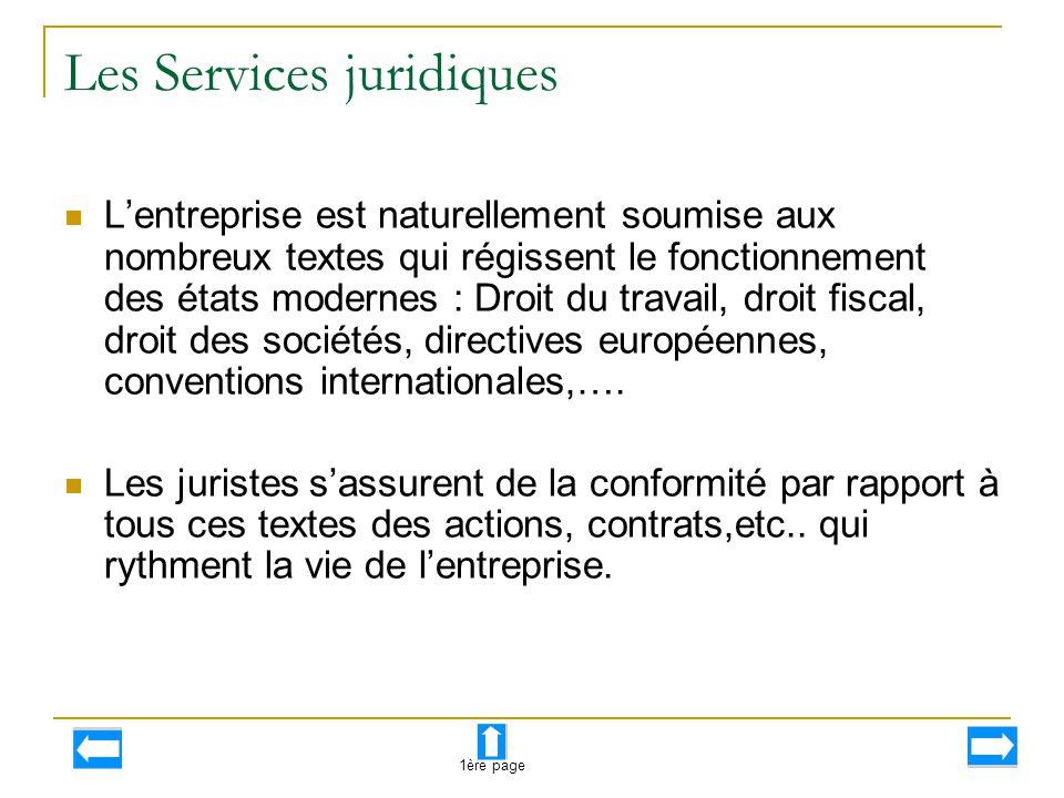Les Services juridiques L'entreprise est naturellement soumise aux nombreux textes qui régissent le fonctionnement des états modernes : Droit du trava