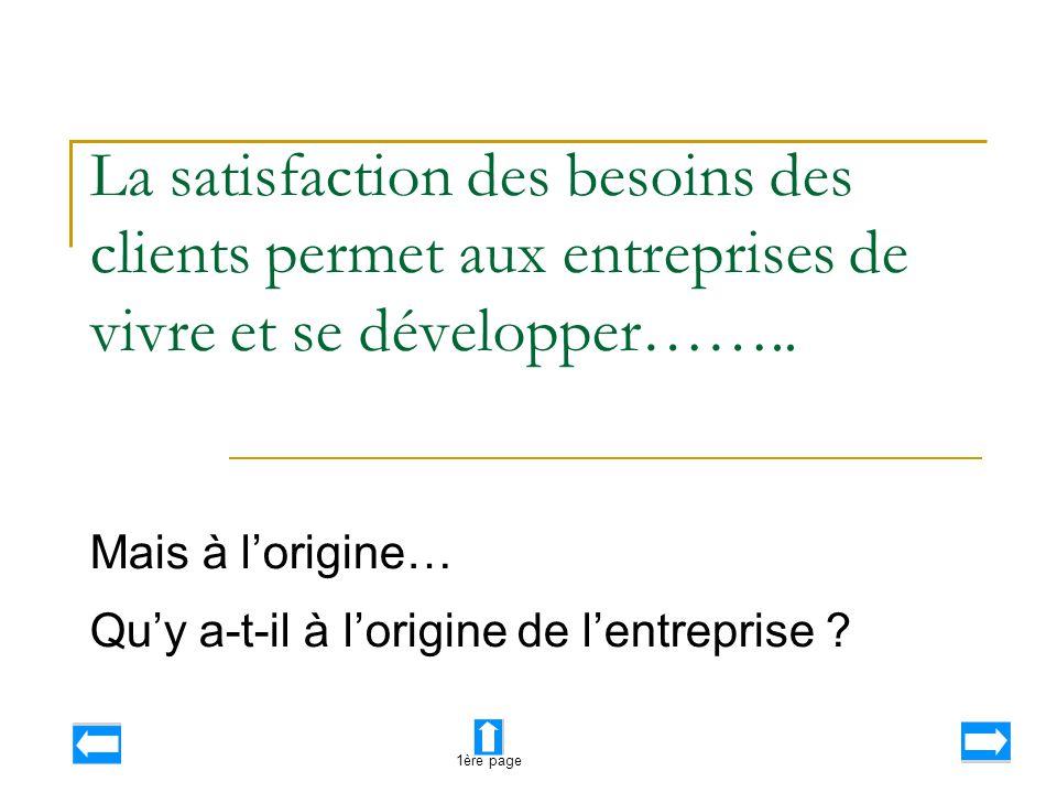 La satisfaction des besoins des clients permet aux entreprises de vivre et se développer…….. Mais à l'origine… Qu'y a-t-il à l'origine de l'entreprise