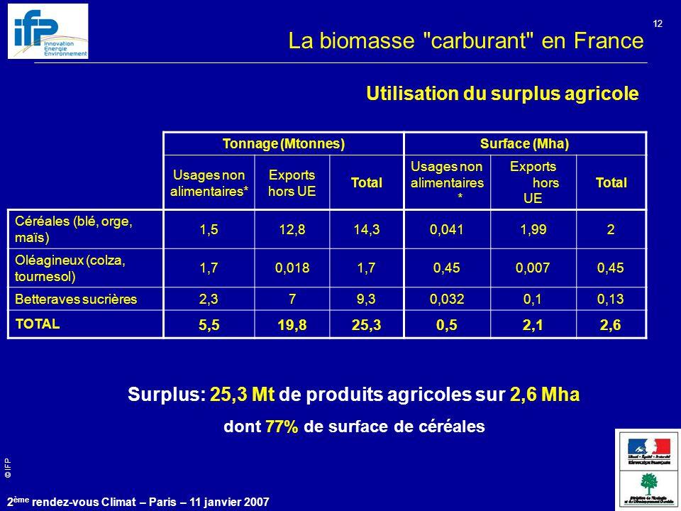 © IFP 2 ème rendez-vous Climat – Paris – 11 janvier 2007 12 Utilisation du surplus agricole Tonnage (Mtonnes)Surface (Mha) Usages non alimentaires* Exports hors UE Total Usages non alimentaires * Exports hors UE Total Céréales (blé, orge, maïs) 1,512,814,30,0411,992 Oléagineux (colza, tournesol) 1,70,0181,70,450,0070,45 Betteraves sucrières2,379,30,0320,10,13 TOTAL 5,519,825,30,52,12,6 Surplus: 25,3 Mt de produits agricoles sur 2,6 Mha dont 77% de surface de céréales La biomasse carburant en France