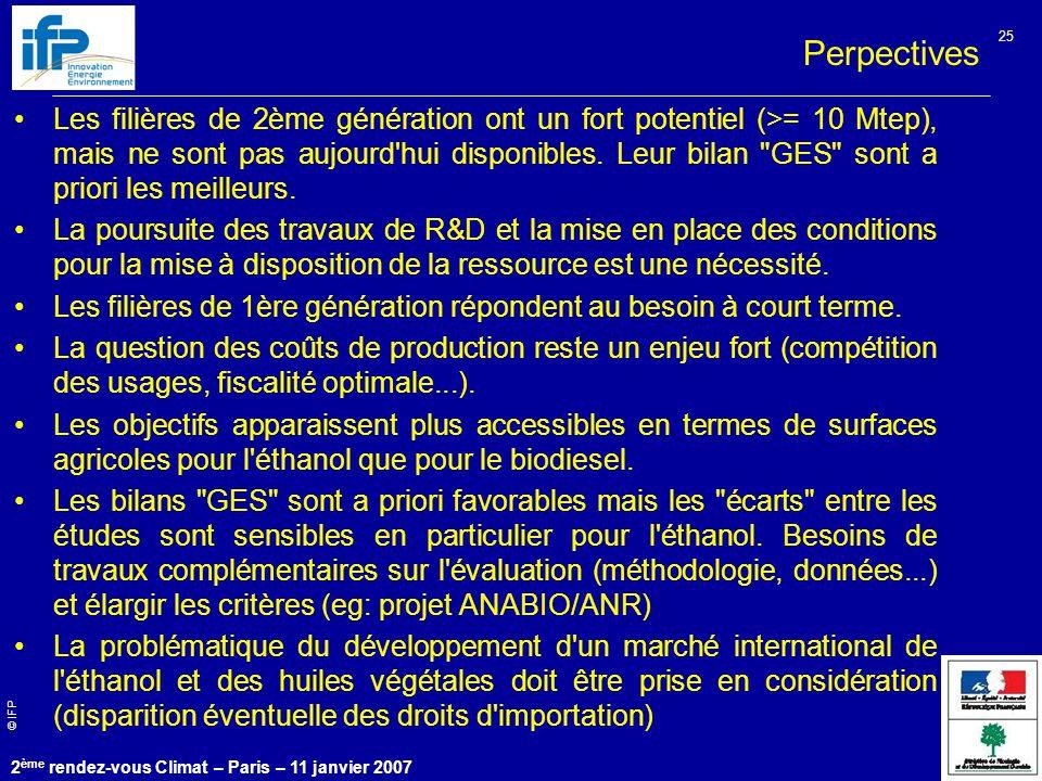 © IFP 2 ème rendez-vous Climat – Paris – 11 janvier 2007 25 Les filières de 2ème génération ont un fort potentiel (>= 10 Mtep), mais ne sont pas aujourd hui disponibles.
