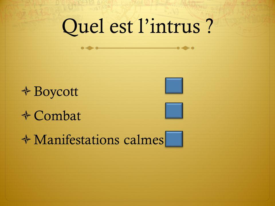 Quel est l'intrus ?  Boycott  Combat  Manifestations calmes