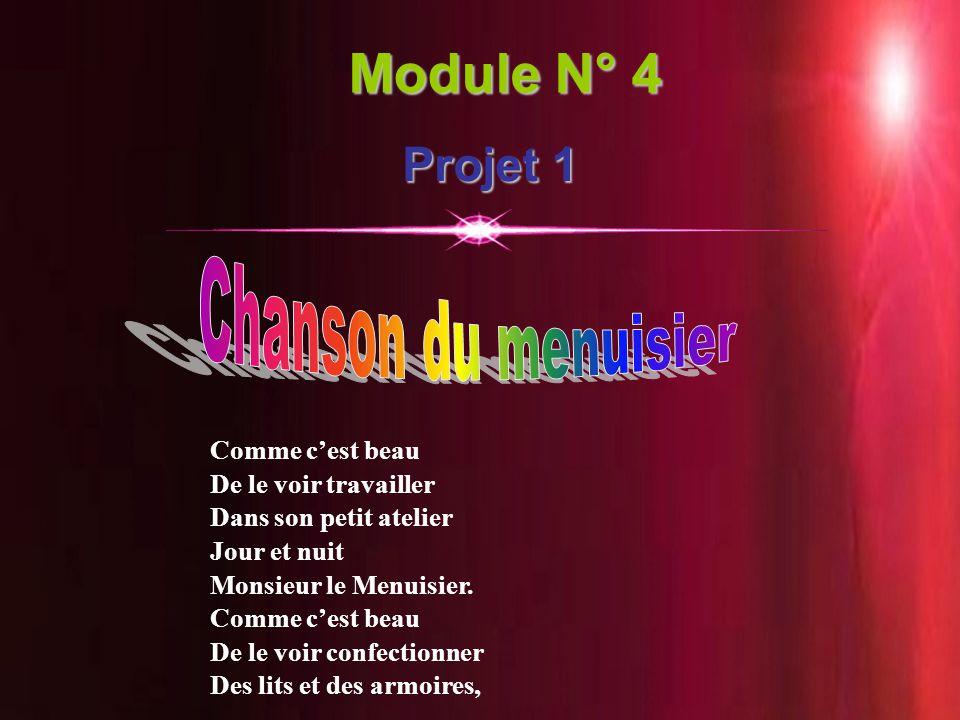 18 Module N° 4 Projet 1 Comme c'est beau De le voir travailler Dans son petit atelier Jour et nuit Monsieur le Menuisier. Comme c'est beau De le voir