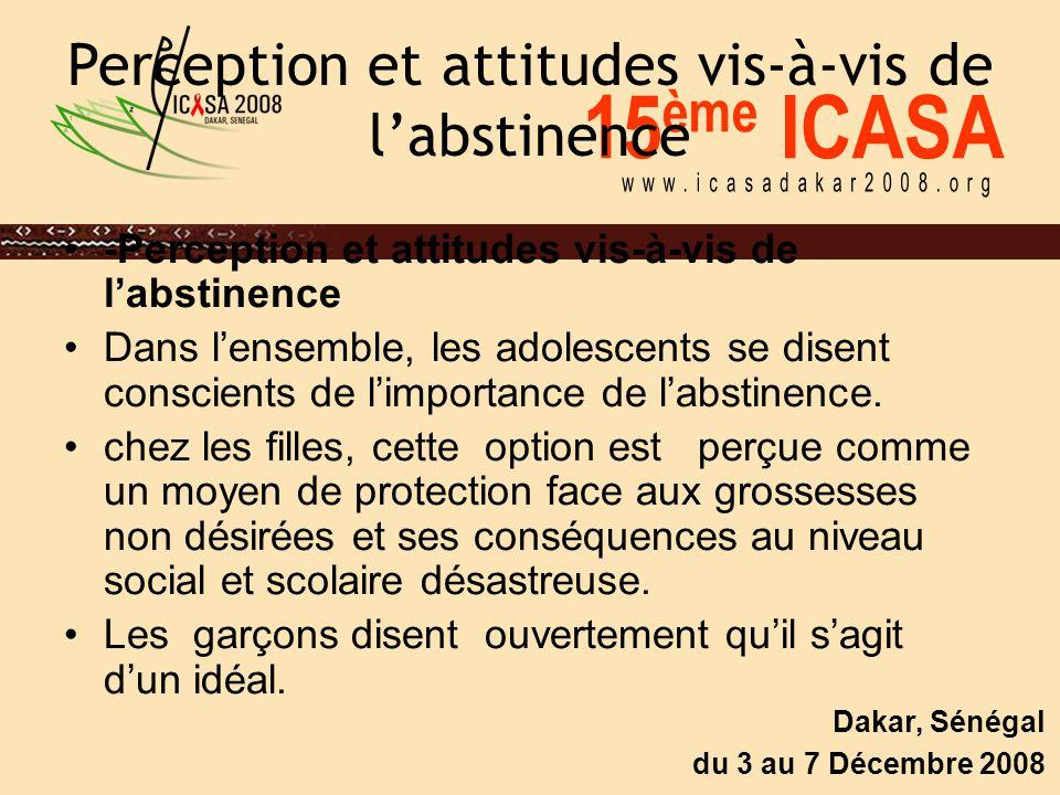 15 ème ICASA Dakar, Sénégal du 3 au 7 Décembre 2008 Perception et attitudes vis-à-vis de l'abstinence -Perception et attitudes vis-à-vis de l'abstinen