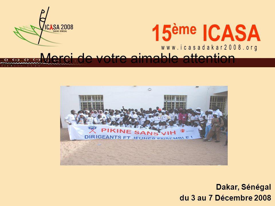 15 ème ICASA Dakar, Sénégal du 3 au 7 Décembre 2008 Merci de votre aimable attention