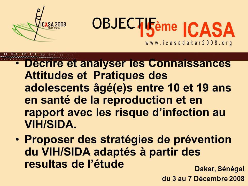 15 ème ICASA Dakar, Sénégal du 3 au 7 Décembre 2008 OBJECTIF Décrire et analyser les Connaissances Attitudes et Pratiques des adolescents âgé(e)s entre 10 et 19 ans en santé de la reproduction et en rapport avec les risque d'infection au VIH/SIDA.