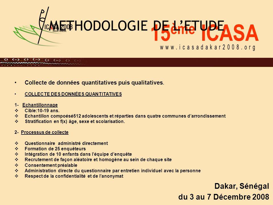 15 ème ICASA Dakar, Sénégal du 3 au 7 Décembre 2008 METHODOLOGIE DE L'ETUDE Collecte de données quantitatives puis qualitatives. COLLECTE DES DONNÉES