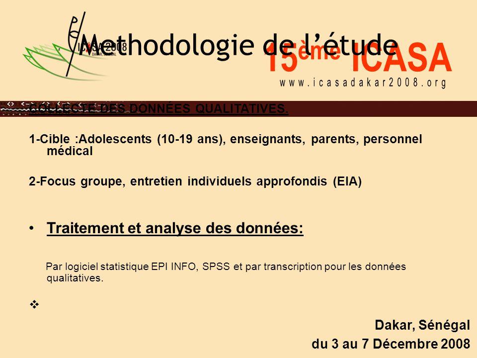 15 ème ICASA Dakar, Sénégal du 3 au 7 Décembre 2008 Methodologie de l'étude COLLECTE DES DONNÉES QUALITATIVES. 1-Cible :Adolescents (10-19 ans), ensei