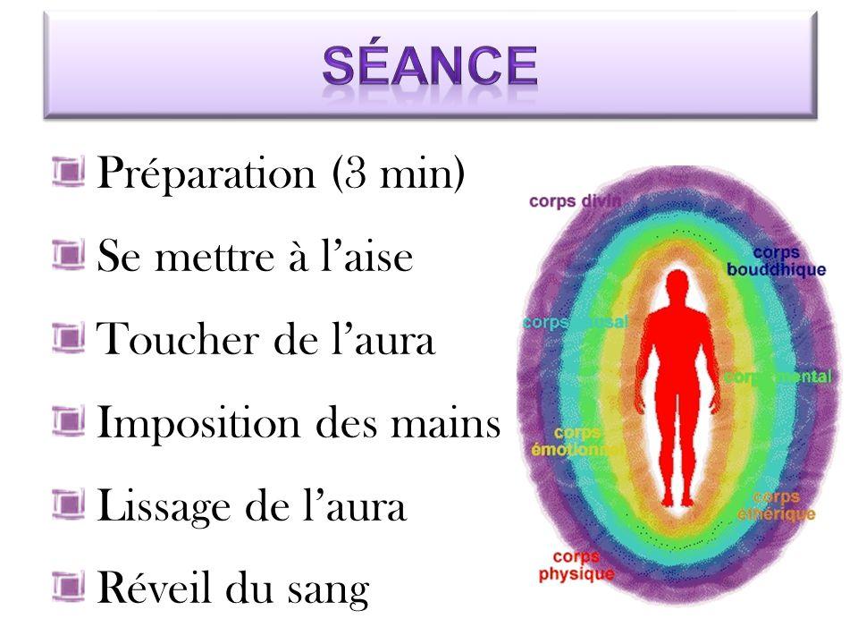 Préparation (3 min) Se mettre à l'aise Toucher de l'aura Imposition des mains Lissage de l'aura Réveil du sang