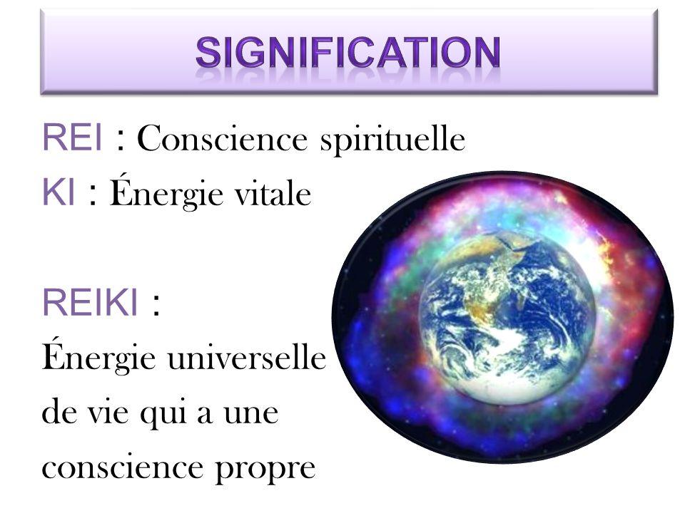 REI : Conscience spirituelle KI : Énergie vitale REIKI : Énergie universelle de vie qui a une conscience propre