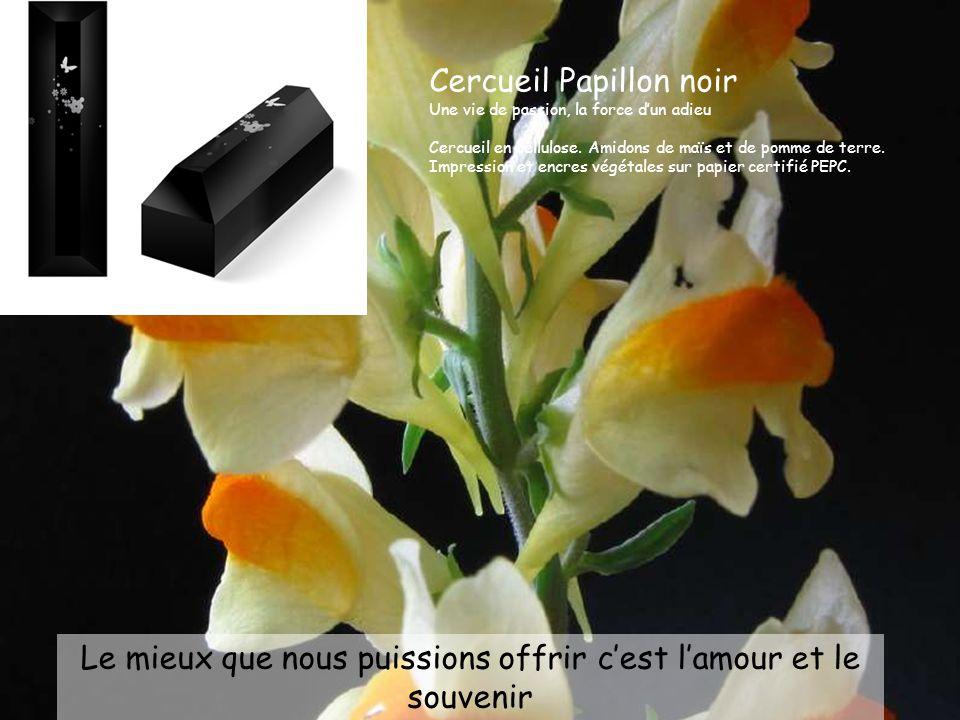 Le mieux que nous puissions offrir c'est l'amour et le souvenir Cercueil Papillon noir Une vie de passion, la force d'un adieu Cercueil en cellulose.