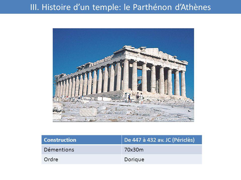 III.Histoire d'un temple: le Parthénon d'Athènes ConstructionDe 447 à 432 av.