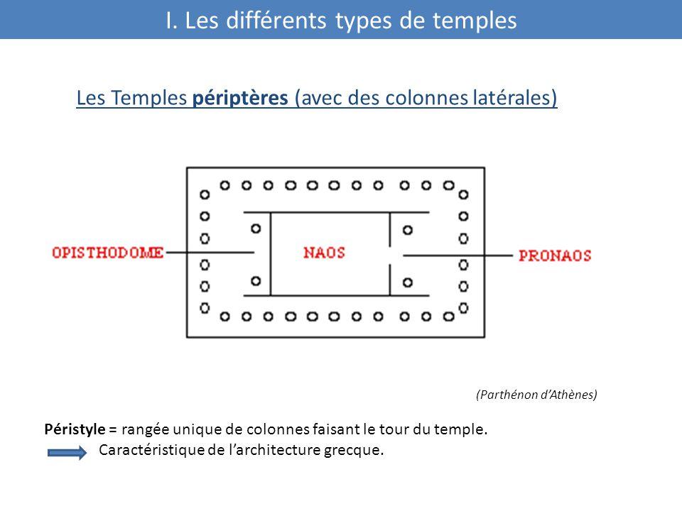 Les Temples périptères (avec des colonnes latérales) (Parthénon d'Athènes) Péristyle = rangée unique de colonnes faisant le tour du temple.