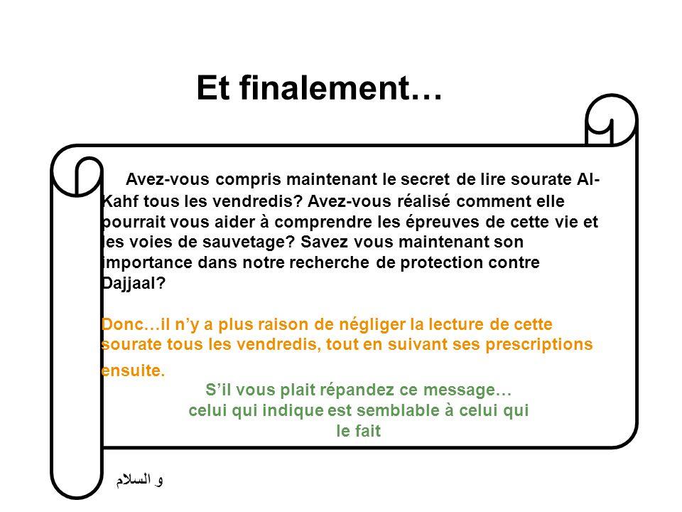 Et finalement… Avez-vous compris maintenant le secret de lire sourate Al- Kahf tous les vendredis.