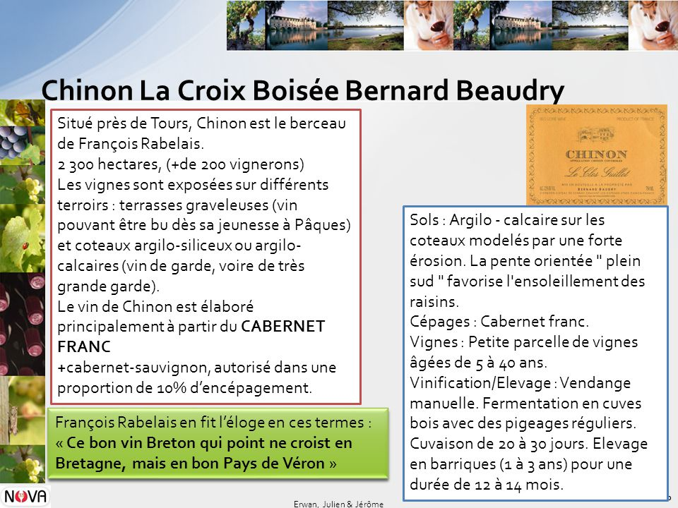 Chinon La Croix Boisée Bernard Beaudry 10 Erwan, Julien & Jérôme Sols : Argilo - calcaire sur les coteaux modelés par une forte érosion. La pente orie