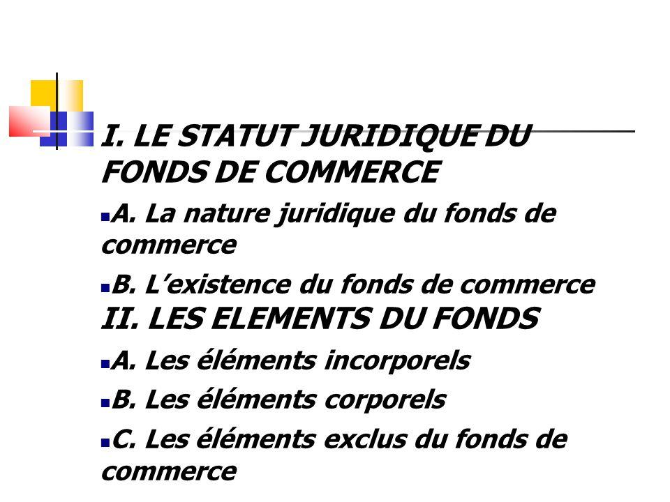 I. LE STATUT JURIDIQUE DU FONDS DE COMMERCE A. La nature juridique du fonds de commerce B. L'existence du fonds de commerce II. LES ELEMENTS DU FONDS