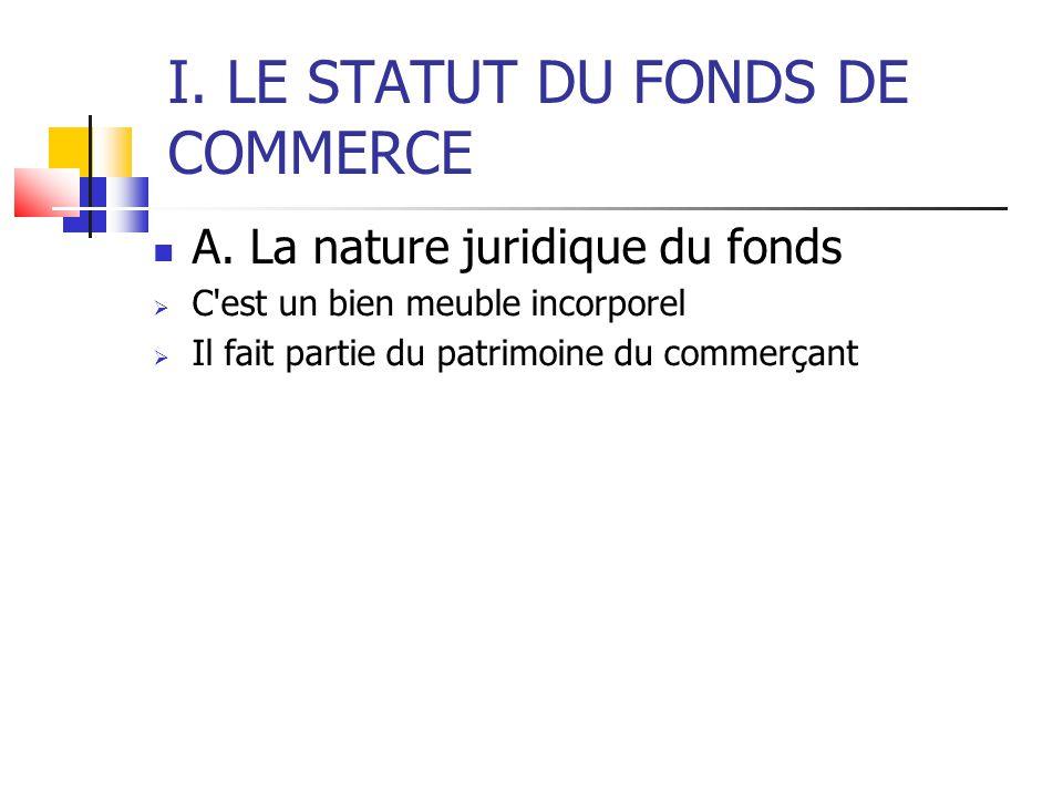 I. LE STATUT DU FONDS DE COMMERCE A. La nature juridique du fonds  C'est un bien meuble incorporel  Il fait partie du patrimoine du commerçant