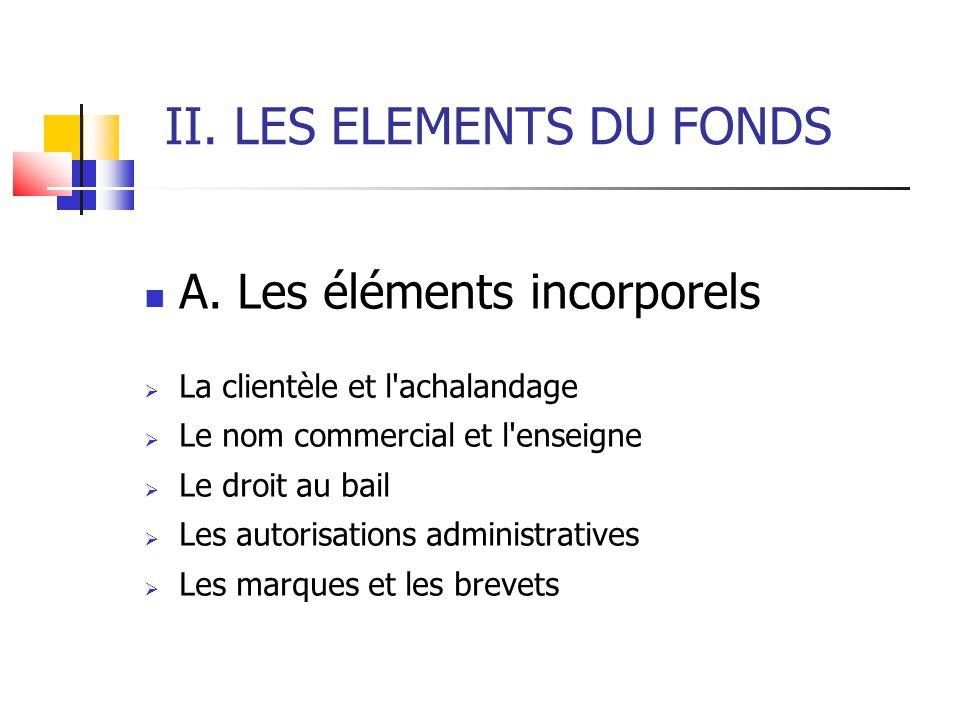 II. LES ELEMENTS DU FONDS A. Les éléments incorporels  La clientèle et l'achalandage  Le nom commercial et l'enseigne  Le droit au bail  Les autor