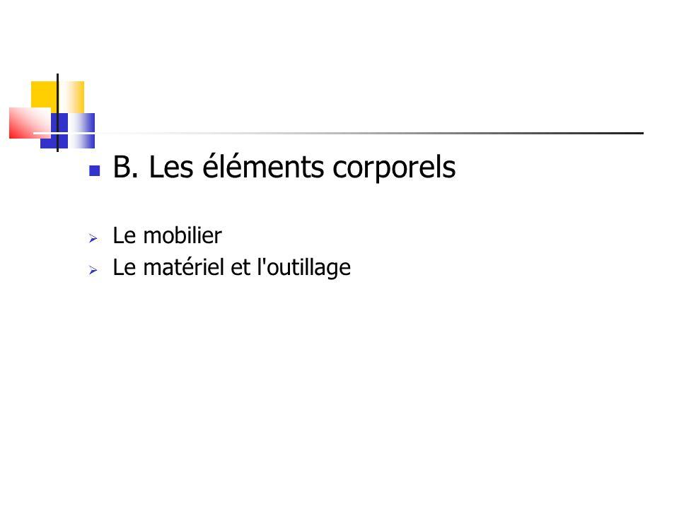 B. Les éléments corporels  Le mobilier  Le matériel et l'outillage