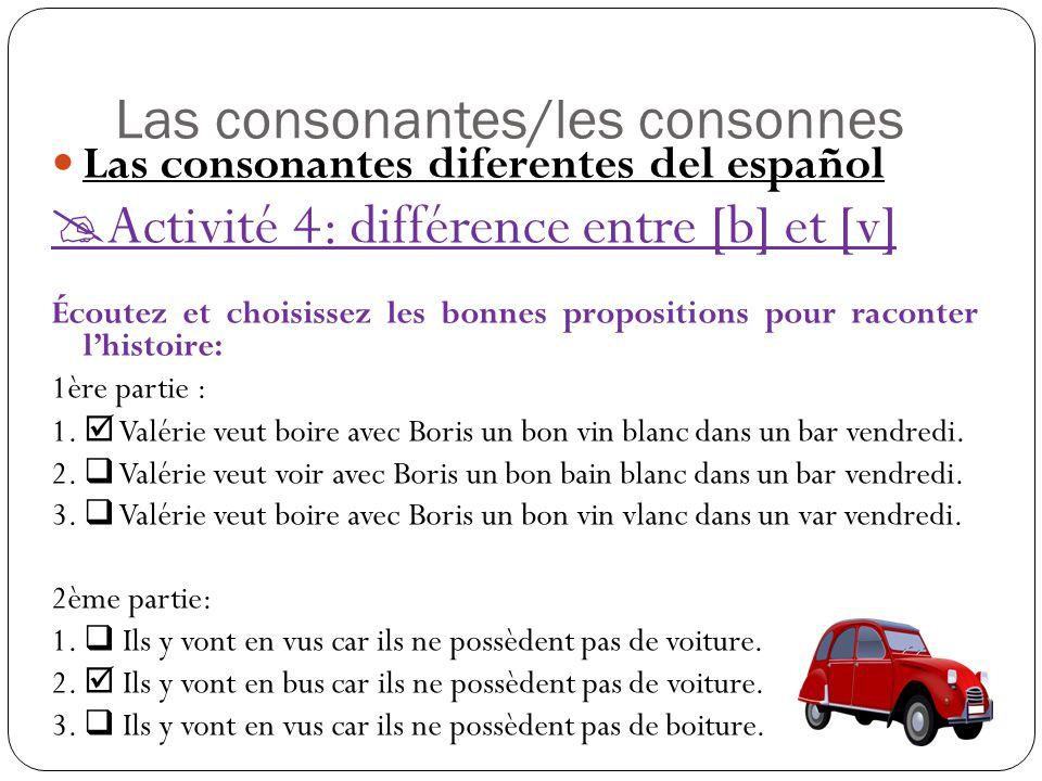 Las consonantes/les consonnes Las consonantes diferentes del español  Activité 4: différence entre [b] et [v] Écoutez et choisissez les bonnes propositions pour raconter l'histoire: 1ère partie : 1.