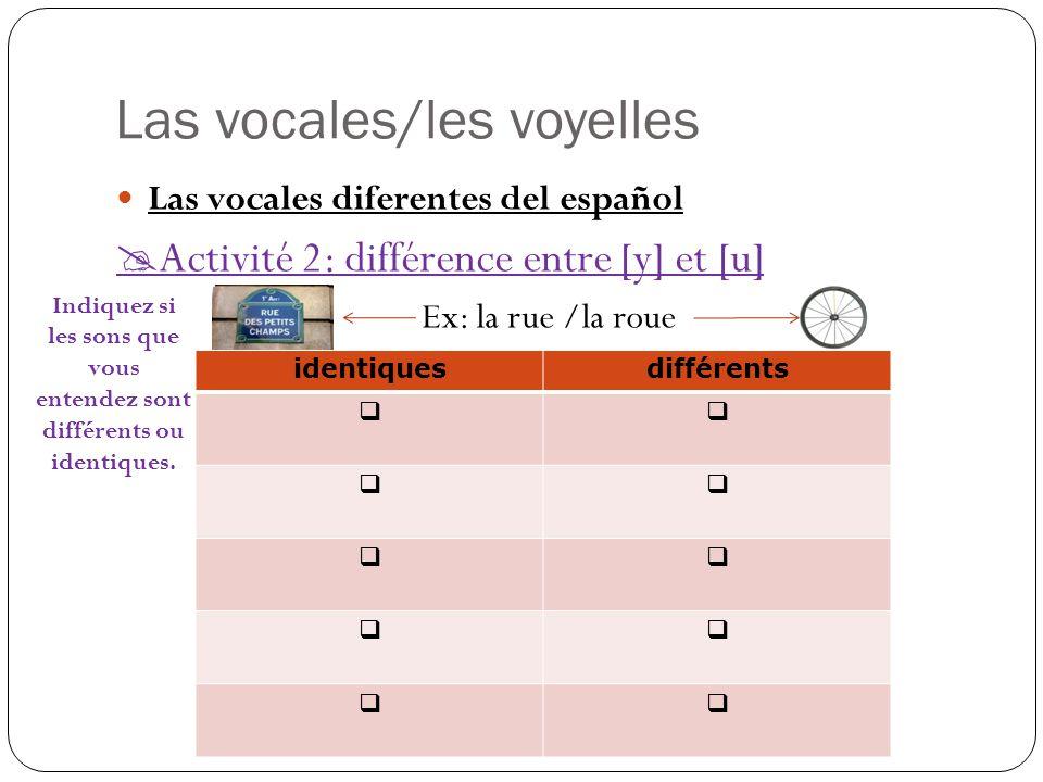 Las vocales/les voyelles Las vocales diferentes del español  Activité 2: différence entre [y] et [u] Ex: la rue /la roue identiquesdifférents      Indiquez si les sons que vous entendez sont différents ou identiques.