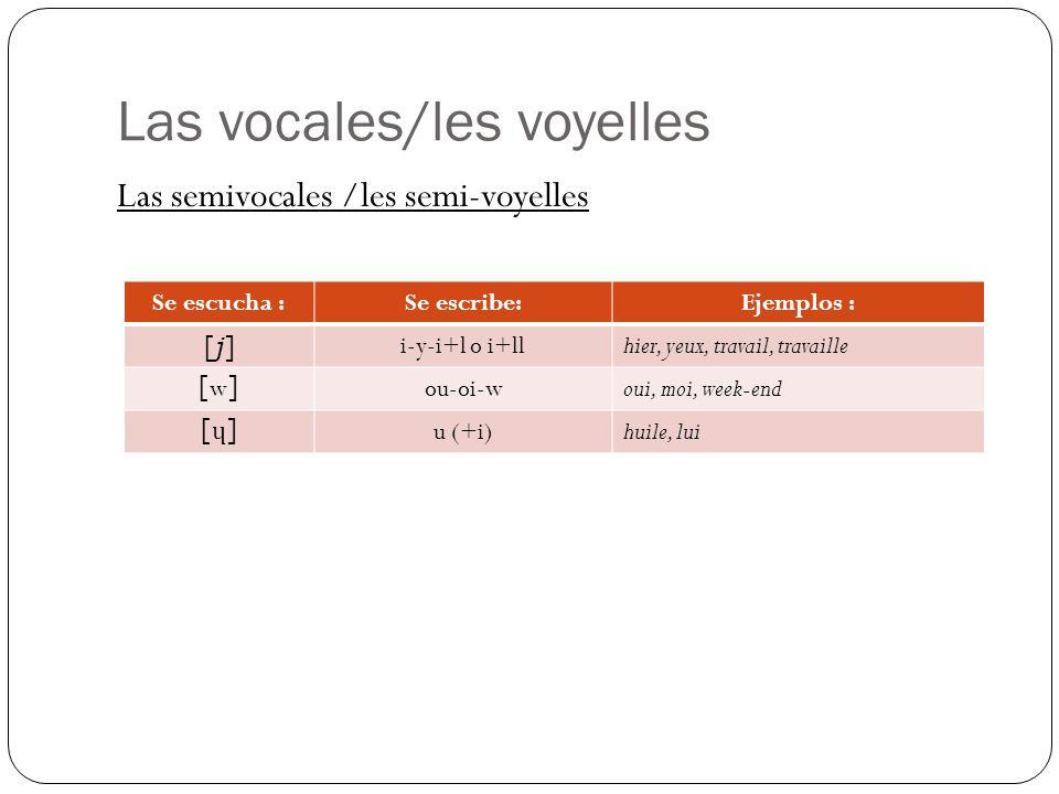 Las vocales/les voyelles Las semivocales /les semi-voyelles Se escucha :Se escribe:Ejemplos : [j][j] i-y-i+l o i+ll hier, yeux, travail, travaille [w][w] ou-oi-woui, moi, week-end [ɥ][ɥ] u (+i)huile, lui