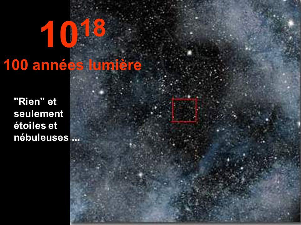 Ici, nous ne voyons rien dans l'infini.... 10 17 10 années lumière