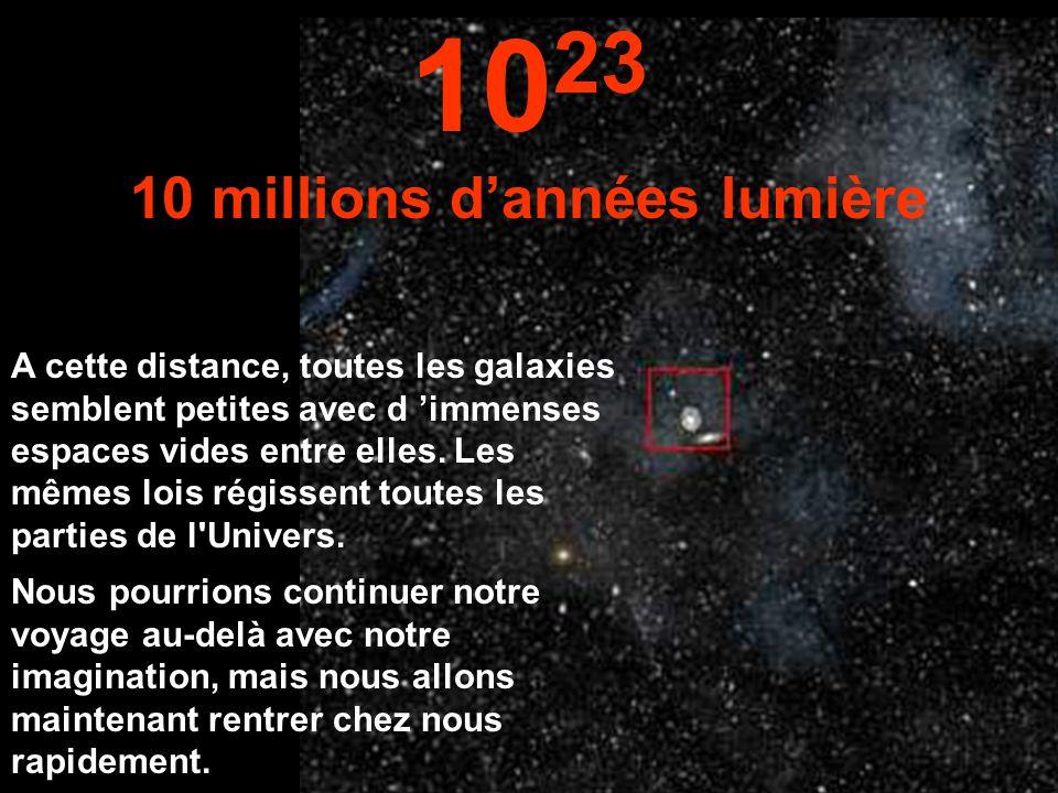 A cette énorme distance nous pouvons voir toute la Voie Lactée et d 'autres galaxies. 10 22 1 million d'années lumière