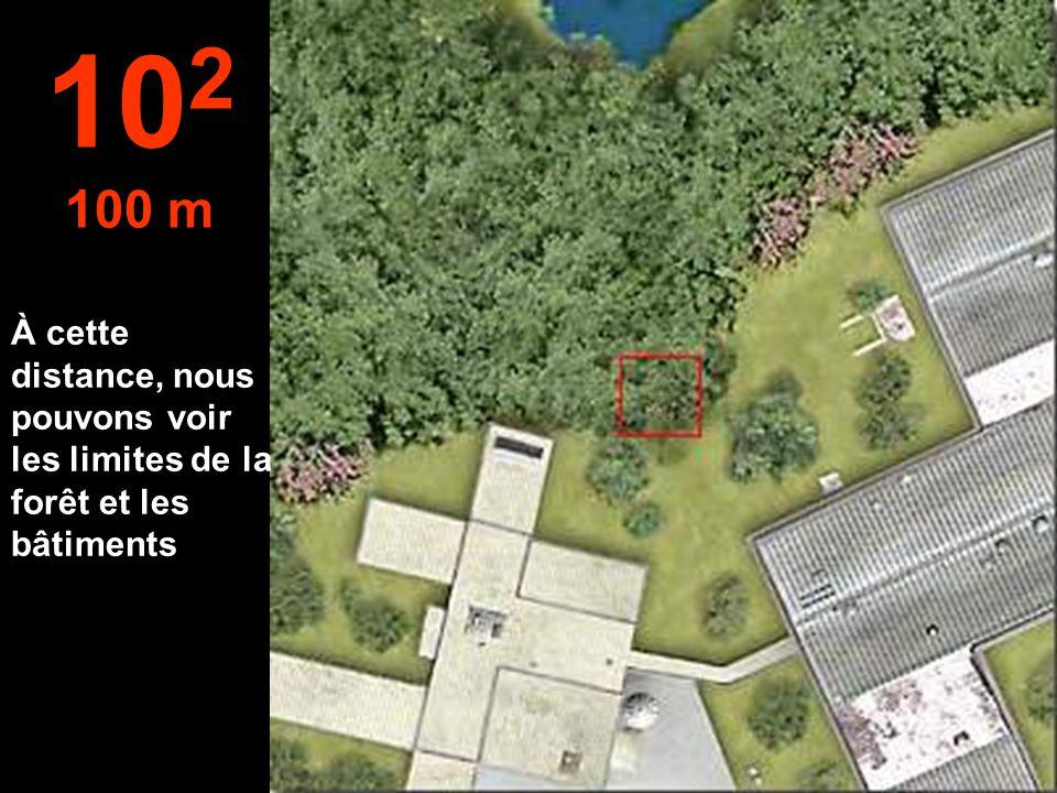 À cette distance, nous pouvons voir les limites de la forêt et les bâtiments 10 2 100 m