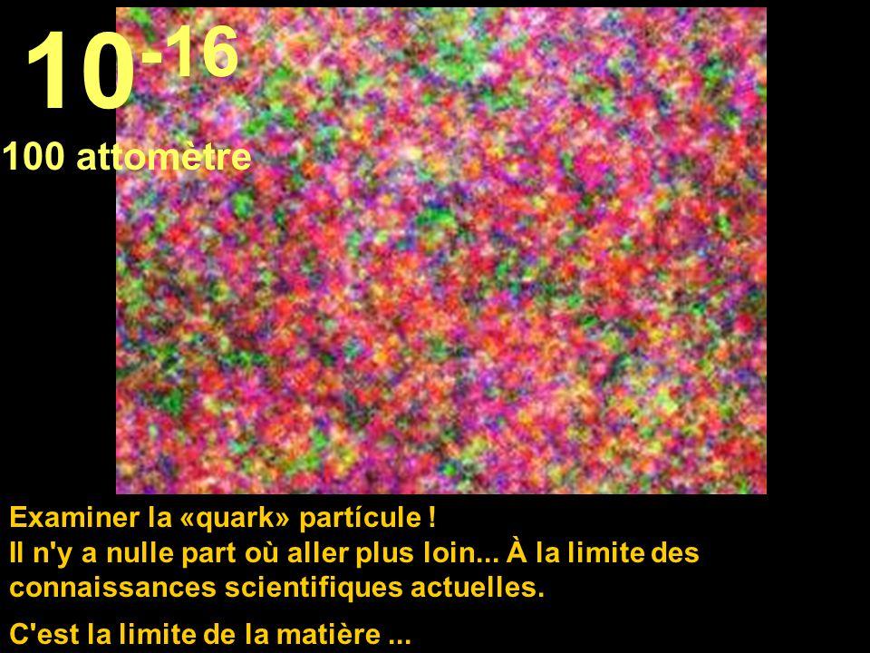 Ici nous sommes dans le domaine de l'imaginaire scientifique, face à face avec un proton. 10 -15 1 femtomètre