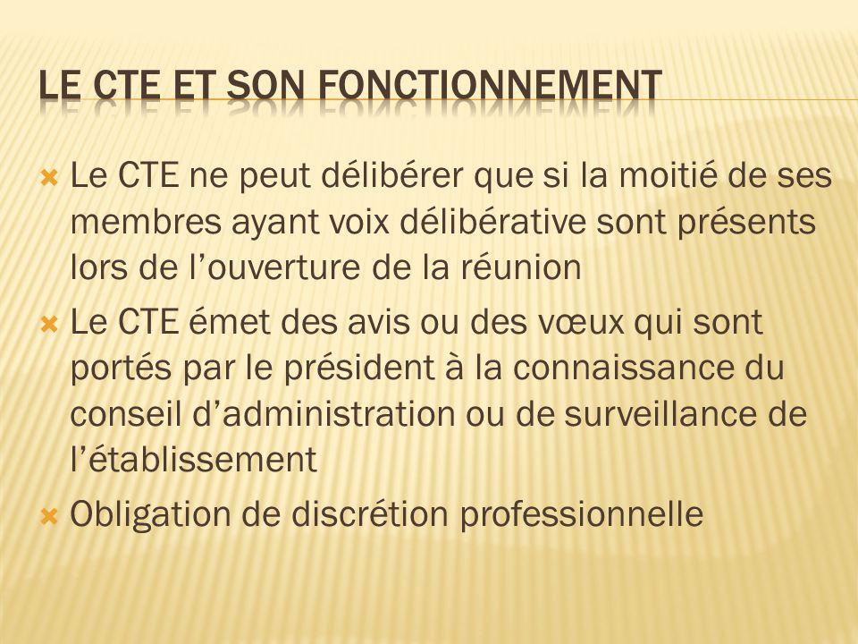  Le CTE ne peut délibérer que si la moitié de ses membres ayant voix délibérative sont présents lors de l'ouverture de la réunion  Le CTE émet des a