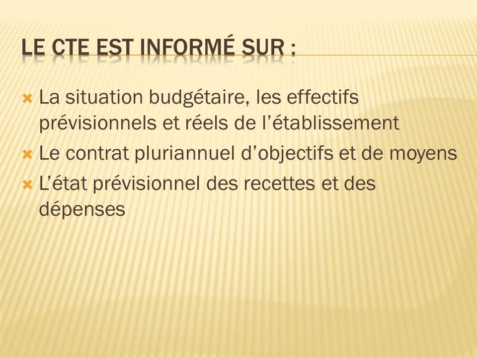  La situation budgétaire, les effectifs prévisionnels et réels de l'établissement  Le contrat pluriannuel d'objectifs et de moyens  L'état prévisionnel des recettes et des dépenses