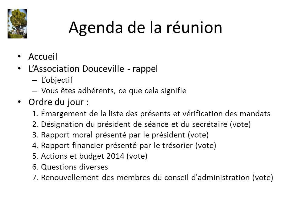 Agenda de la réunion Accueil L'Association Douceville - rappel – L'objectif – Vous êtes adhérents, ce que cela signifie Ordre du jour : 1. Émargement