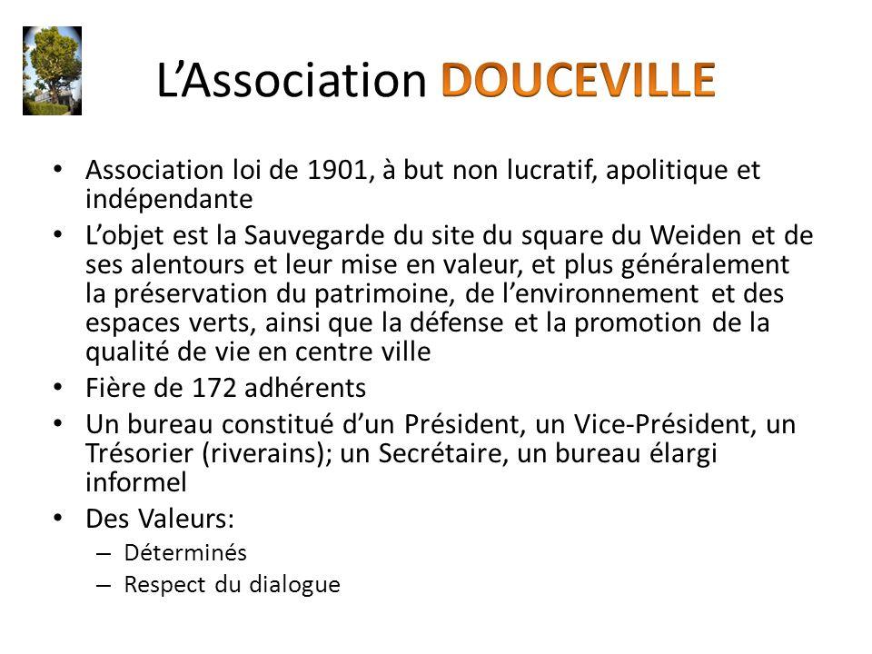 Association loi de 1901, à but non lucratif, apolitique et indépendante L'objet est la Sauvegarde du site du square du Weiden et de ses alentours et l