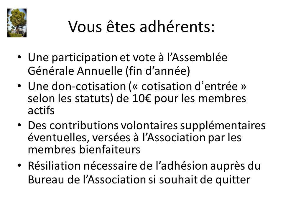 Vous êtes adhérents: Une participation et vote à l'Assemblée Générale Annuelle (fin d'année) Une don-cotisation (« cotisation d'entrée » selon les sta