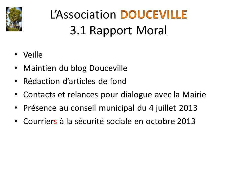 Veille Maintien du blog Douceville Rédaction d'articles de fond Contacts et relances pour dialogue avec la Mairie Présence au conseil municipal du 4 j