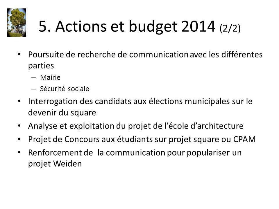 5. Actions et budget 2014 (2/2) Poursuite de recherche de communication avec les différentes parties – Mairie – Sécurité sociale Interrogation des can