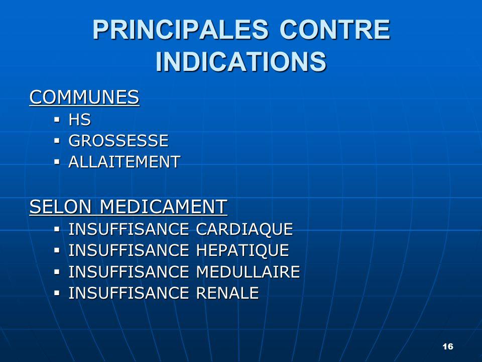 PRINCIPALES CONTRE INDICATIONS COMMUNES  HS  GROSSESSE  ALLAITEMENT SELON MEDICAMENT  INSUFFISANCE CARDIAQUE  INSUFFISANCE HEPATIQUE  INSUFFISAN