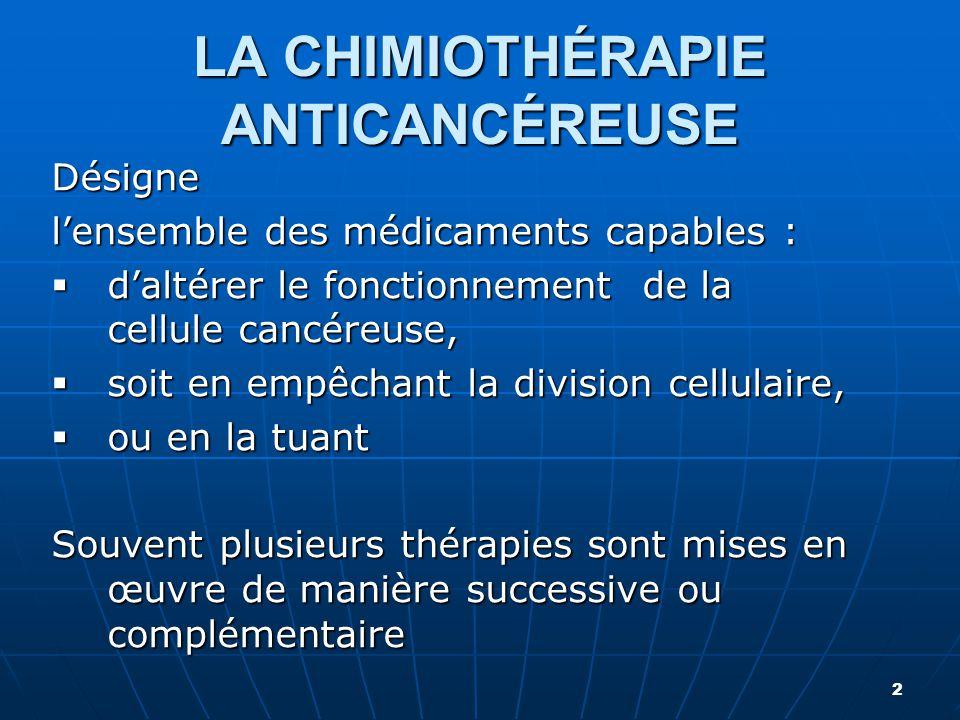 Désigne l'ensemble des médicaments capables :  d'altérer le fonctionnement de la cellule cancéreuse,  soit en empêchant la division cellulaire,  ou