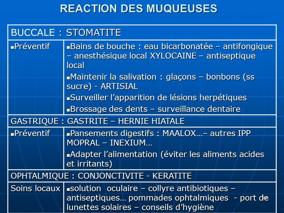 REACTION DES MUQUEUSES : STOMATITE BUCCALE : STOMATITE Préventif Préventif Bains de bouche : eau bicarbonatée – antifongique – anesthésique local XYLO