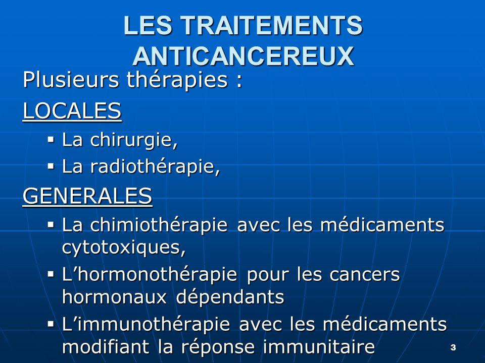 LES TRAITEMENTS ANTICANCEREUX Plusieurs thérapies : LOCALES  La chirurgie,  La radiothérapie, GENERALES  La chimiothérapie avec les médicaments cyt