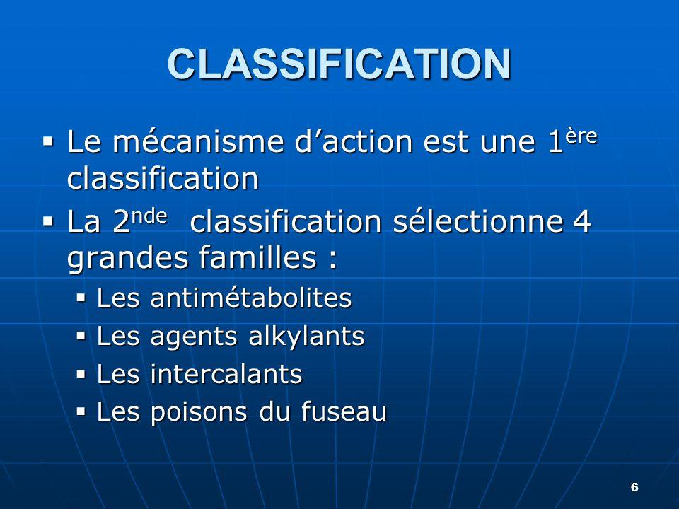 CLASSIFICATION  Le mécanisme d'action est une 1 ère classification  La 2 nde classification sélectionne 4 grandes familles :  Les antimétabolites 