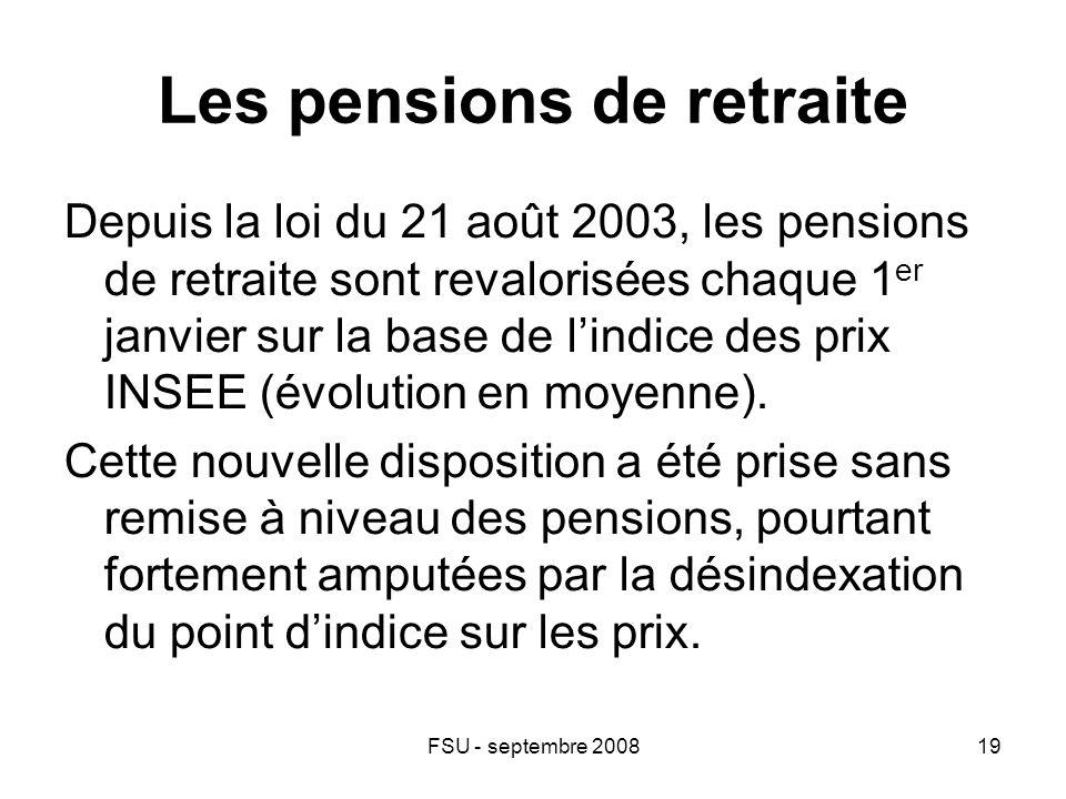 FSU - septembre 200819 Les pensions de retraite Depuis la loi du 21 août 2003, les pensions de retraite sont revalorisées chaque 1 er janvier sur la base de l'indice des prix INSEE (évolution en moyenne).