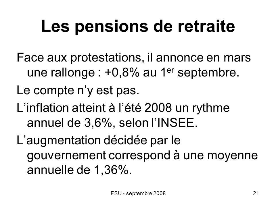 FSU - septembre 200821 Les pensions de retraite Face aux protestations, il annonce en mars une rallonge : +0,8% au 1 er septembre.