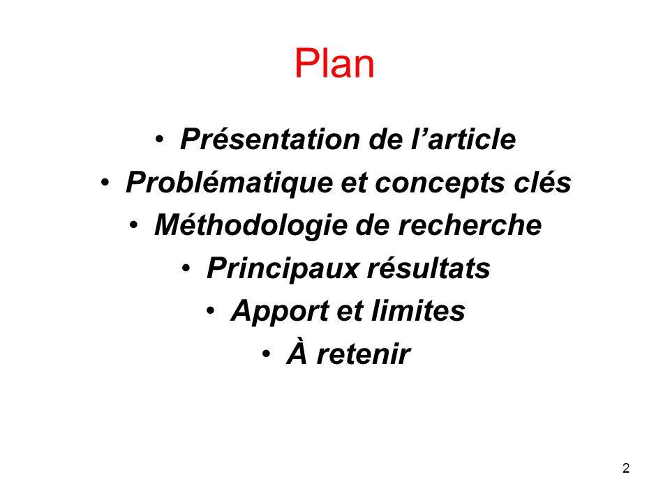 2 Plan Présentation de l'article Problématique et concepts clés Méthodologie de recherche Principaux résultats Apport et limites À retenir