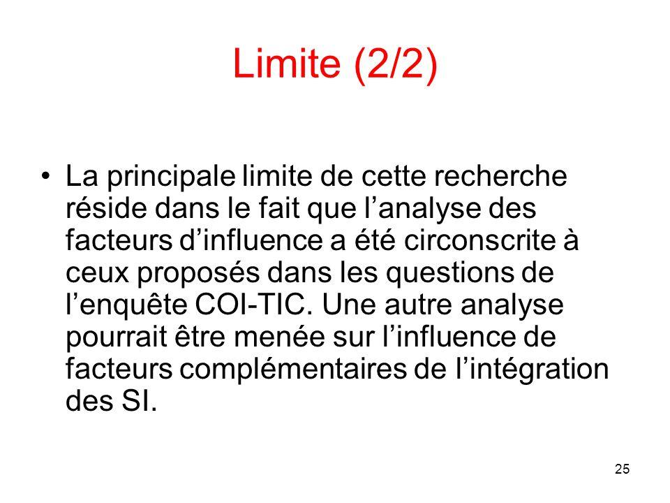 25 Limite (2/2) La principale limite de cette recherche réside dans le fait que l'analyse des facteurs d'influence a été circonscrite à ceux proposés dans les questions de l'enquête COI-TIC.