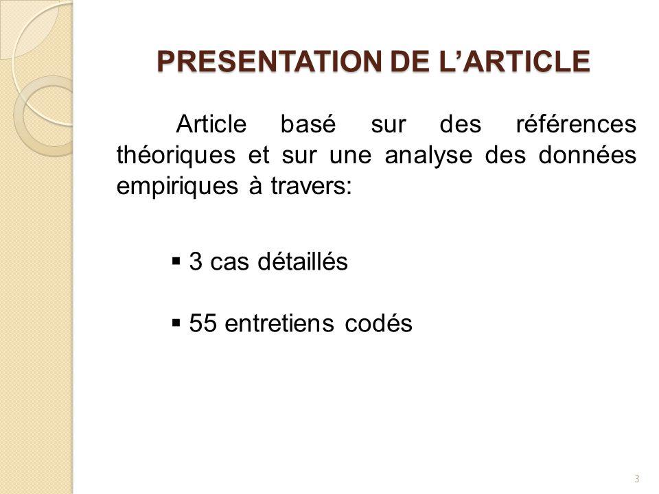 PRESENTATION DE L'ARTICLE Article basé sur des références théoriques et sur une analyse des données empiriques à travers:  3 cas détaillés  55 entretiens codés 3