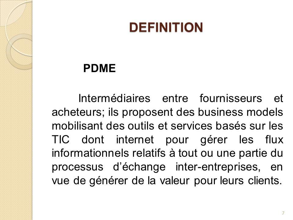 DEFINITION Intermédiaires entre fournisseurs et acheteurs; ils proposent des business models mobilisant des outils et services basés sur les TIC dont